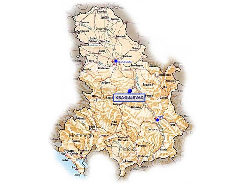 Kragujevac Mapa Srbije Superjoden